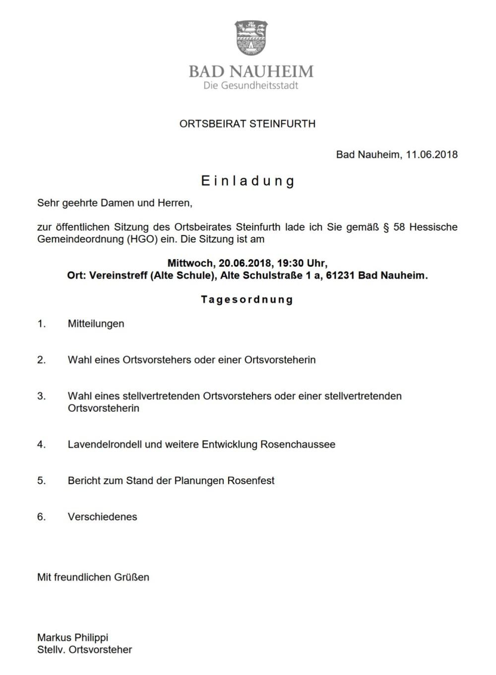 Ortsbeiratssitzung Steinfurth @ Vereinstreff